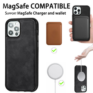 PU Back Phone Case for iPhone 12 mini Pro MAX shockproof back cover cell shell compatible for Magsafe
