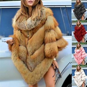 Faux Fur Coat Women Fox Fur Winter Warm Oversized Long Sleeve Luxury Cape Poncho Overcoat Pullover Jacket Outwear Plus Size 201111