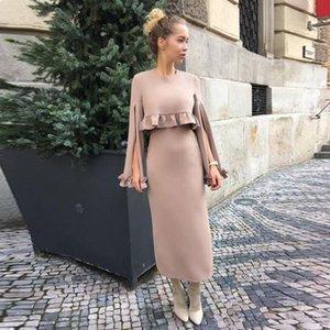 Элегантные атласные ножны короткие вечерние платья оборками лодыжки длина с длинными рукавами выпускного платья Саудовская Аравия халат де босиревые девушки партии платье