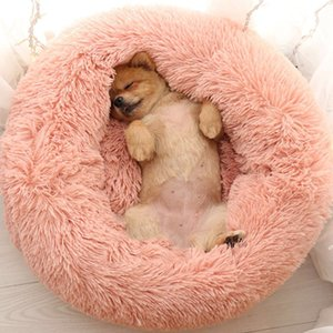 Sleep Luxury Soft Plush Dog Round Shape Sleeping Bag Kennel Puppy Sofa Pet House Winter Warm Beds Cushion Cat Bed C1004