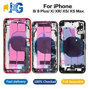 iPhone Para Qualidade OEM 8 Quadro XS Max completa Oriente Habitação 8plus X XR Chassis Voltar vidro da tampa com Flex Peças de montagem Cable