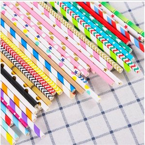 Biodegradable Disposable Paper Straw Environmental Colorful Drinking Straw Wedding Kid Birthday Party Decoration Supply Bar Tool