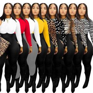 Kadınlar Romper Tasarımcılar Giyim Moda Uzun Kollu Yuvarlak Yaka Leopard Print Çok renkli Tulum Tek Parça Pantolon bodysuit Genel F110601