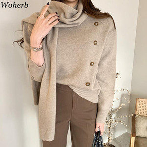 Woherb Chic Kreano Single Breasted Pullover Swolever Gruckers Gruck Autunno Weater Autunno 2020 Donne vestiti Jumper con sciarpa 4E709