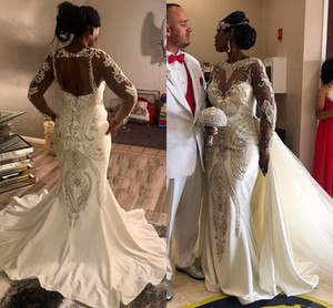 Sparkly Crystal Mermaid Wedding Dresses with Long Sleeve 2021 Lace applique beaded Nigeria African Wedding Gown with Detachable Train