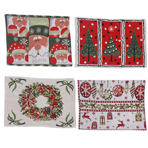 Winter Holiday Placemat Christmas Santa Claus Heat-Resistant Washable Table Place Mats for Kitchen Dining Table Decoration FWE1231