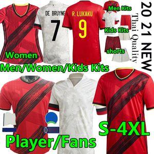 4XL Belgio fan del giocatore Versione calcio Jersey 2020 2021 E.Hazard de Bruyne R.Lukaku Mertens Man Donne Bambini Kit Kit da calcio Camicia da calcio Pantaloni uniforme