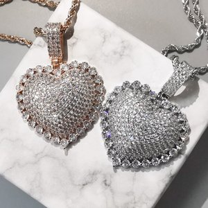 Bling Iced Out Heart Pendant 3 Colors AAA Zircon Necklace For Men Women Gifts Fashion Hip hop Jewelry J0108