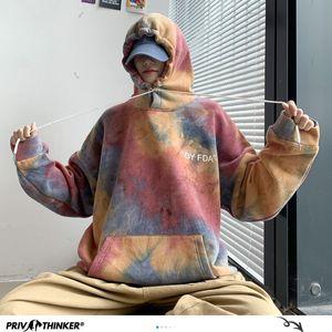 Privathinker Yeni Moda 2020 Sonbahar Moda Erkek Kapşonlu Sweatshirt Man Kore Hip Hop Casual Kazaklar 1019 Erkekler Hoodies Tie-boyalı
