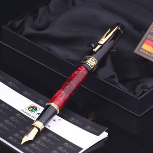 High Quality Pimio 915 Luxury Rubine and Gold Clip 0.5mm Rubine Nib Metal Fountain Pen for Christmas Business Gift Ink Pens