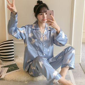 New Lazy Style 2020 Long Sleeve Pajamas Silk Set 2Pcs Set Women Sleepwear Sexy Homewear for Women Pyjamas Set Long Pant