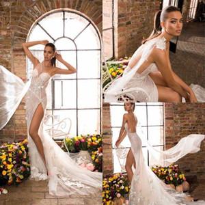 2021 Elihav Sasson Mermaid Wedding Dresses High Thigh Split Lace Appliqued One Shoulder Bohemian Wedding Dress Illusion Boho Bridal Gowns