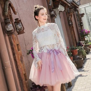 Womens High Waist Princess Tulle Skirt Adult Dance Petticoat A Line Wedding Party Tutu 7 Layers Midi Lolita Faldas Saia