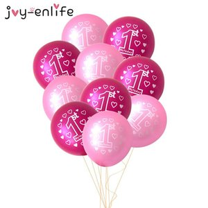 10pcs Pink 1st Birthday Balloon One 1 Year Old First Happy Birthday Party Decoration Latex Ballons Globos Baby Shower Girl Favor wmtMow