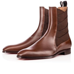 Super Quality Red Bottom Designers Men's Boot brians Knight Boots Genuine leather + Elastic Flats Leather Shoes Gentleman Wedding Part
