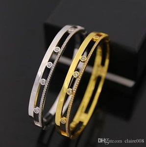 Hot sale of high-grade copper micro-inlay jewelry Beautiful Messica hollow set with small diamond snap-on bracelet