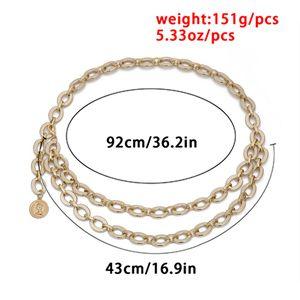 2020Women Retro Waist Chain Gold Coin Jewelry Metal Chain Belt Ladies Designer Dress Accessories Chains Strap ceinture femme