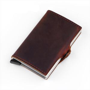 Fashion Wallet Genuine Leather Unisex Business Card Holder Metal Rfid Blocking Mini Slim Wallet Hasp Travel Purse