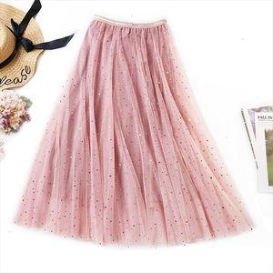 New 2020 Spring Tulle Skirts Womens Fashion Shining Star Mesh Tutu Skirt Pleated Long Skirts Midi Skirt Saias Faldas Jupe Femme