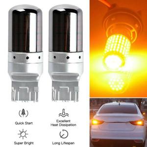 High Quality 2pcs Set Chrome 7440 T20 Amber Canbus Error Free LED Lamp Bulb Turn Signal Light For Car Tools