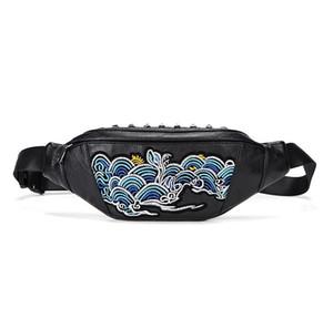 wholesale men handbag street fashion embroidery purse personality rivet punk men chest bag outdoor sports fitness embroidery shoulder bag