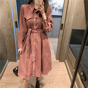 New Design High Quality Corduroy Long Dress Shirt for Women Spring 2021 One Piece Trench Fashion Female Clothing Jacket Dress