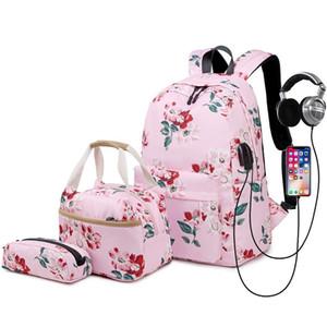2020 New School Backpack Set Waterproof adolescente Nylon Meninas bookbags 15 polegadas Laptop Backpack Crianças Lunch Tote Bag Clutch PurseX1014