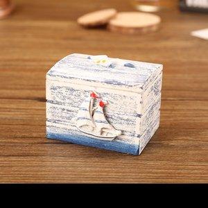 Caja de joyería de madera caja de aretreo cajas de almacenamiento velero shell estrellas de mar estilo de mar alojamiento doméstico 5 5sf uu