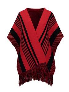 2021 Женский Clocolor Cashmere красный кабель полоса сетка блока цвет свободный шаль пончо случайные моды Boho Capes le9r
