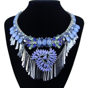 새로운 패션 과장된 푸른 술 크리스탈 펜던트 목걸이 펜던트 Choker 문 목걸이