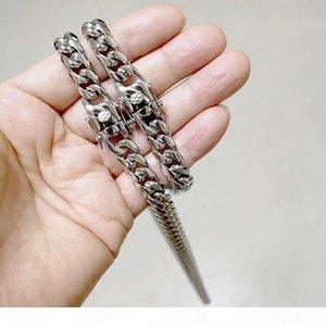 Erkek Takı Çift Emniyet Klipsler Chokers Kolyeler frenlemek Bağlantı Bilezikler 8 MM 0mm 12MM Paslanmaz Çelik Hip Hop Küba Zincirleri ayarlar