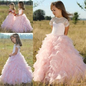 Pink Short Sleeves Flower Girls Dresses Children Sheer Neck Tiered Long Cute Girls Pageant Dress Organza And Lace Birthday Kids Prom Dress