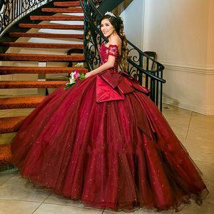 Burgundy Quinceanera Dresses Ball Gown Girls Vestido 15 anos azul Off Shoulder Appliques Sequined Long Prom Dress
