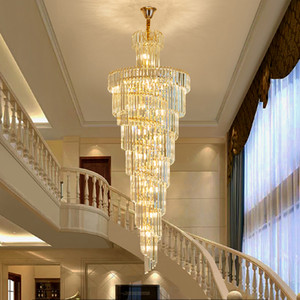 Duplex Villa Spiral Stair Chandelier Long Crystal Chandelier Lighting Modern Living Room Luxury Large Gold Crystal Light Fixture