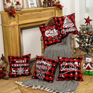 45*45cm Christmas Snowflake Pillowcase New Year Decor Santa Cushion Covers Home Sofa Pillow Case Xmas Pillow Cover Party Supplies EWE2756