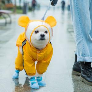 Brasão Dog Cat Pet capa com capuz Reflective filhote de cachorro pequeno cão Chuva Jacket impermeável para cães macio respirável malha Dog Clothes Y200917