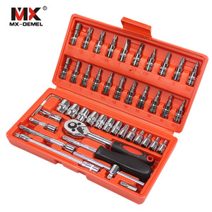 MX-DEMEL Car Repair Tool 46pcs 1 4-Inch Socket Set Car Repair Tool Ratchet Torque Wrench Combo Tools Kit Auto Repairing Tool Set LJ200815