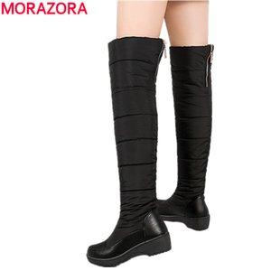 BIG SIZE 35-44 Warm down snow boots women plush zipper over the knee high boots black blue ladies cotton winter boots210