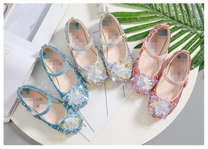 Shimmering Princess Party Crystal Sandals for Girl The Little Glass Dress up Accessories Dance Shoes Kid Buckle Strap Flat Shoes