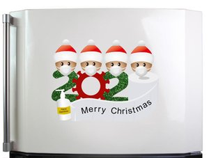 Janela Decoração de Natal quarentena Etiqueta Papai Noel Frigorífico Porta Wallpaper Frigorífico PVC Etiqueta Família DHD2088