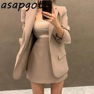 Asapgot Blazer Suit Etek Suit Şık Kore Basit Mizaç Tek göğsü Çentikli Blazer Ceket Yüksek Bel A Hattı Etekler