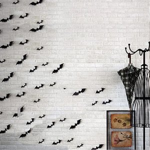 Décorations d'Halloween bricolage fournitures chauves-souris Effrayant décoratifs 3D Stickers muraux Wall Sticker Décor Maison Décoration Fenêtre Set 28pcs, Noir Décoration intérieure