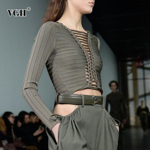 VGH Sexy Hollow Out Striped T Shirt For Women O Neck Long Sleeve Slim Solid Short Tops Female Fashion New Clothing 2020 Tide