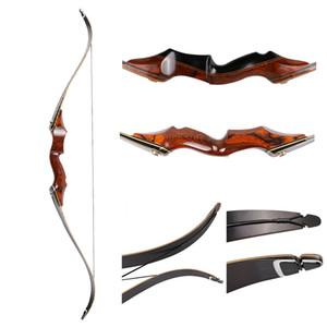 Arco derribado arco de la caza del arco 30-60 libras arco de madera americano 58 pulgadas de arco recurvado laminado con flecha de descanso
