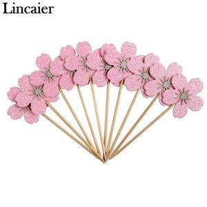 Lincaier 10 stücke Rosa Kirschblüten Cupcake Topper Mädchen Geburtstag Party Dekorationen Kinder Sakura Kuchen Liefert Zubehör Blume Y200618