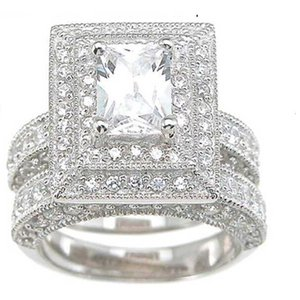Professional Wholesale Vintage Jewelry Topaz Simulated Diamond 14KT White Gold Filled 3-in-1 Wedding Ring Set for christmas gift Sz 5-10