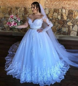 Vintage White Lace Wedding Dresses 2021 Ball Gown Long Sleeves Belt Bridal Gowns Appliqued Off The Shoulder Long Sleeves Plus Size Marriage