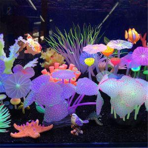 Décorations 11 Feuilles Silicone Silicone Glower Artificial Tank Aquarium PLANTS DE CORAIL DE CORAIRE Sous-marin Accessoires de décoration d'ornement sous-marin