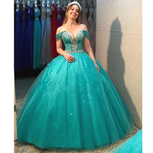 Glitter Turquoise Ball Gown Quinceanera Dresses with Removeable Skirt Tulle Crystal Beaded Off Shoulder Prom Gowns Sweet 16 Dress