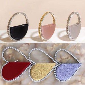 Rhinestones Heart Women Clutch Bags Diamonds Finger Ring Evening Bags Crystal Wedding Bridal Handbags Sliver